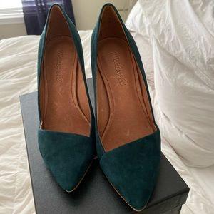 Madewell Mira Green Suede heels